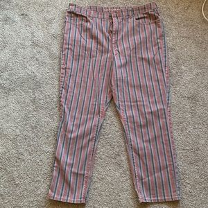 Pink striped Mom Jeans x AEO